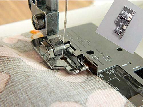 1/4'' (Quarter Inch) Quilting Patchwork Sewing Machine Presser Foot with Edge Guide for All Low Shank Snap-On Singer, Brother, Babylock, Euro-Pro, Janome, Juki, Kenmore, New Home, White, Simplicity
