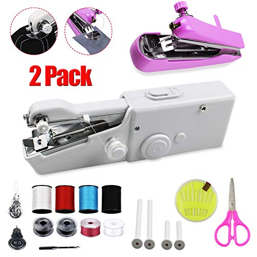Portable Handheld Sewing Machine, Cordless Hand Held Electric Sewing Machine for Fabric Clothing Kids Cloth Pet Clothes, Mini Sewing Machine with Scissors Sewing Set for Home Or Travel