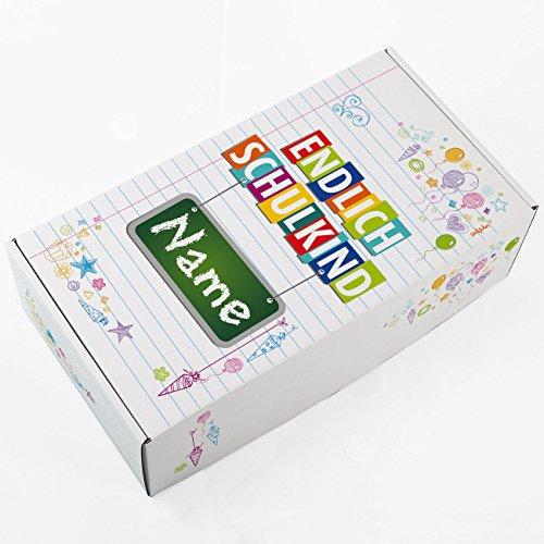 Striefchen® Geschenkkarton zur Einschulung - Endlich Schulkind - mit Aufrduck des Namens des Schulanfängers