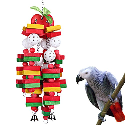 KINTOR Bird Chewing Toy Large Medium Parrot Cage Bite Toys African Grey Macaws Cockatoos Eclectus Amazon (Apple-22inch)