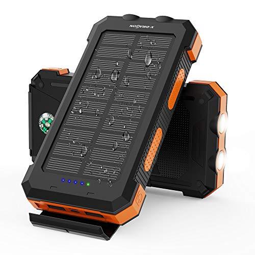 X-DRAGON Solar Power Bank 24000mAh Wasserdichtes Tragbares Solarladegerät mit Zwei Eingängen (USB C & Micro), Doppelter Taschenlampe, Kompass für i-Phone i-Pad S-amsung Handys Huawei Outdoor Camping