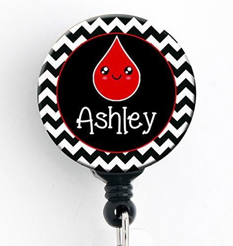Retractable Badge Reel - Phlebotomist - Personalized Name - Badge Holder / Phlebotomy / Nurse Badge / Kawaii Blood Drop