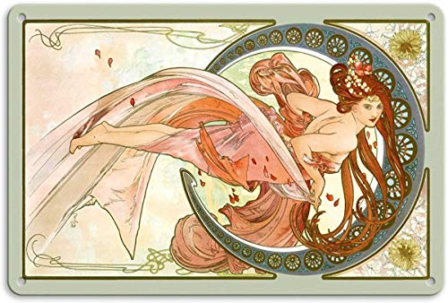 Kia Haop DanceArt Nouveau Beauty by Alphonse Mucha Metall Blechschild Garage Cafe Garten Wohnzimmer Küche Plaque Art Poster Metallschild Wand Dekoration