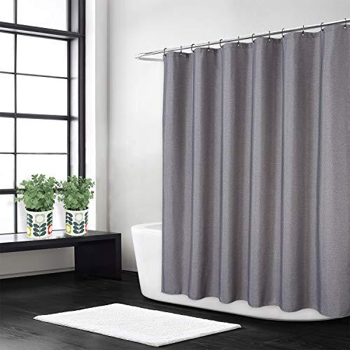 Flachs Leinen wie 240GSM Schwerer Stoff Duschvorhang für Badezimmer mit Haken Hotel Luxus waschbar,grau,180x180 cm