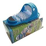 Yiyu Cepillo de Zapatos de Ducha, Ducha Sandalia Cepillo masajeador de pies, Cepillo de Limpieza baño de pies Flip-Flop de reflexología podal x (Color : Blue)