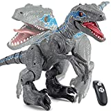 XLNB Jurassic Era RC Gray Blue Dinosaur Toy with USB + Battery-Powered Robot, Movable Mouth and Tail Children's Walking Dinosaur Toy