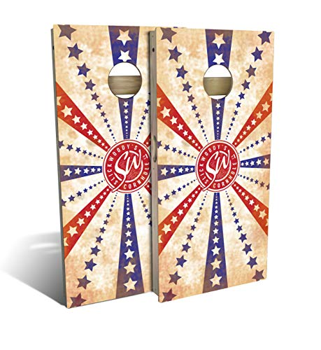 Slick Woody'S Stars and Stripes Cornhole Set with 8 Cornhole Bags, Baltic Birch Plywood Tops for The Smoothest Flattest Playing Surface, Retractable Legs and Back Bounce Brace