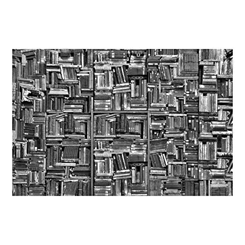 Tapete selbstklebend - Shabby Bücherwand schwarz weiß - Fototapete 320 x 480 cm