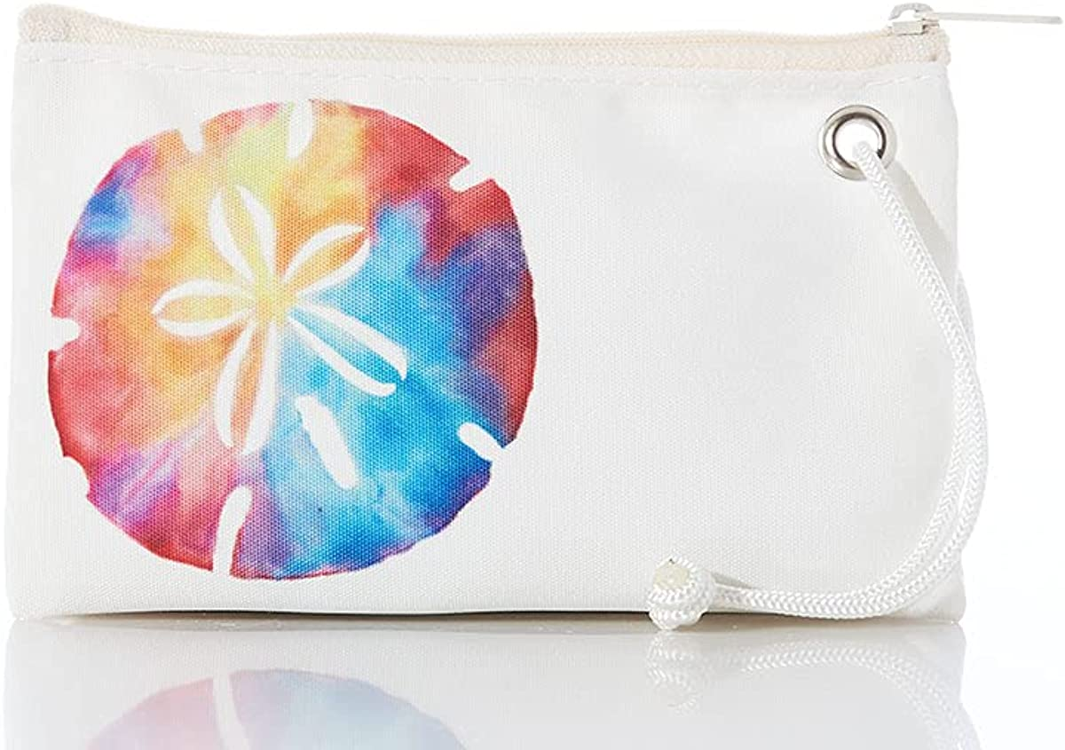 Sea Bags Recycled Sail Cloth Tie-Dye Sand Dollar Wristlet - Zippered Wallet With Strap, Cell Phone Pouch