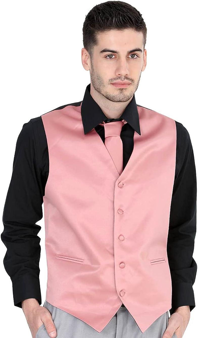 El General Men's Formal Dress Vest Color Salmon 100% Polyester Five Buttons