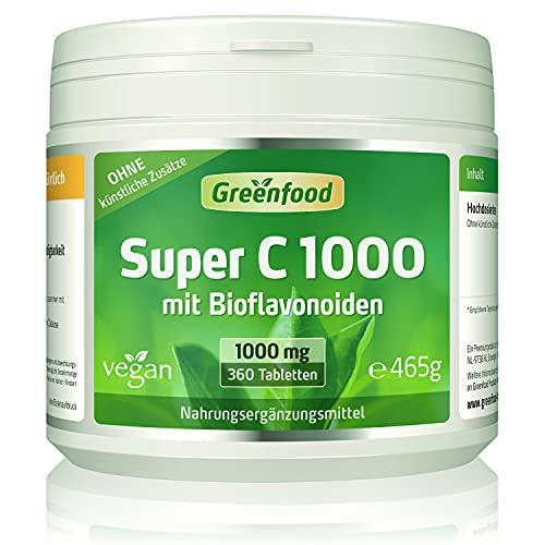 Super C, 1000 mg Vitamin C, hochdosiert, 360 Tabletten, vegan - mit Acerola, Hagebutte und Bioflavonoiden. Für ein bärenstarkes Immunsystem. Schützt die Zellen. OHNE künstliche Zusätze. Ohne Gentechnik.