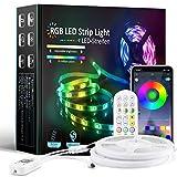 WRQING Tiras LED RGB 5050, Bluetooth Musical Tiras LED, Control de APP y Remoto Control de 40 Teclas, 16 Millones de Colores, Modo de Horario, Luces LED Iluminación para Hogar TV Bar Decoración