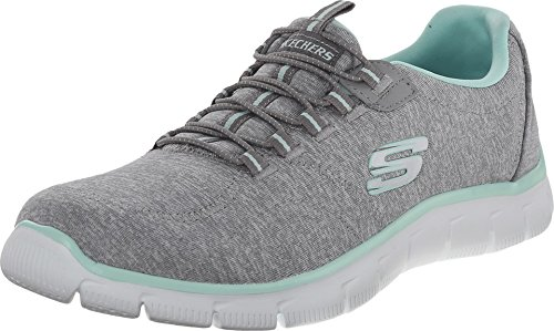 Skechers Women's Sport Empire - Rock Around Relaxed Fit Fashion Sneaker, Grey Mint, 8.5 B(M) US