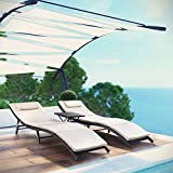 VICTONE 3 Pieces Patio Chaise Lounge Chair Sets Outdoor Poolside PE Rattan Reclining Chair with Cushion and Folding Table (Beige)