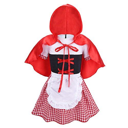 dPois Baby Mädchen Rotkäppchen Kostüm Prinzessin Kleid mit Umfang Kleinkind Märchen Kostüm zu Halloween Karneval Fasching Verkleidung 74 80 86 92 98 104 110 Rot&Weiss 68-74/6-9 Monate