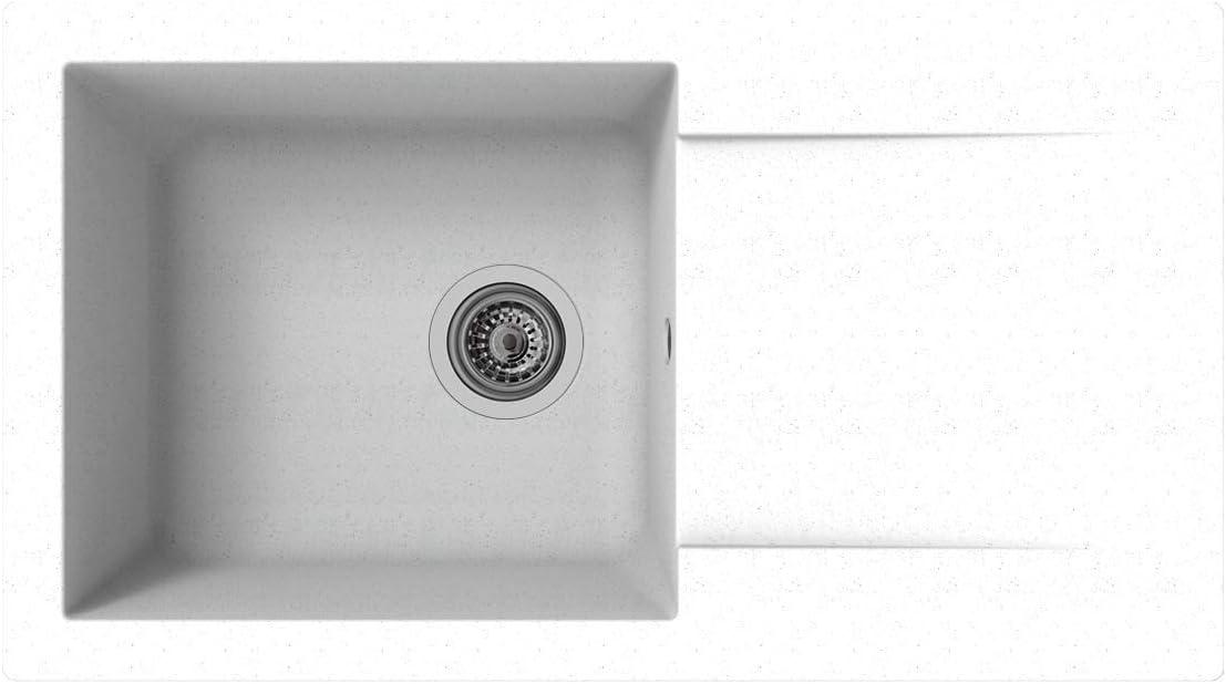 Fregadero empotrado de mineralita 1 cuenca 78 cm blanca, respekta DENVER78X44W