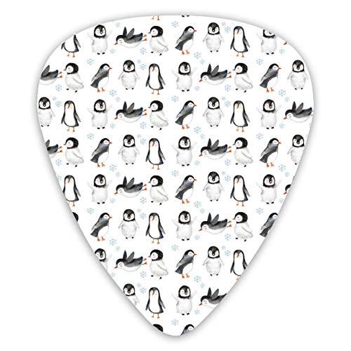 Winter Snow Arctic Animals Cute Baby Penguins púas de guitarra, púas de guitarra premium, paquete de 12 para guitarra eléctrica y bajo