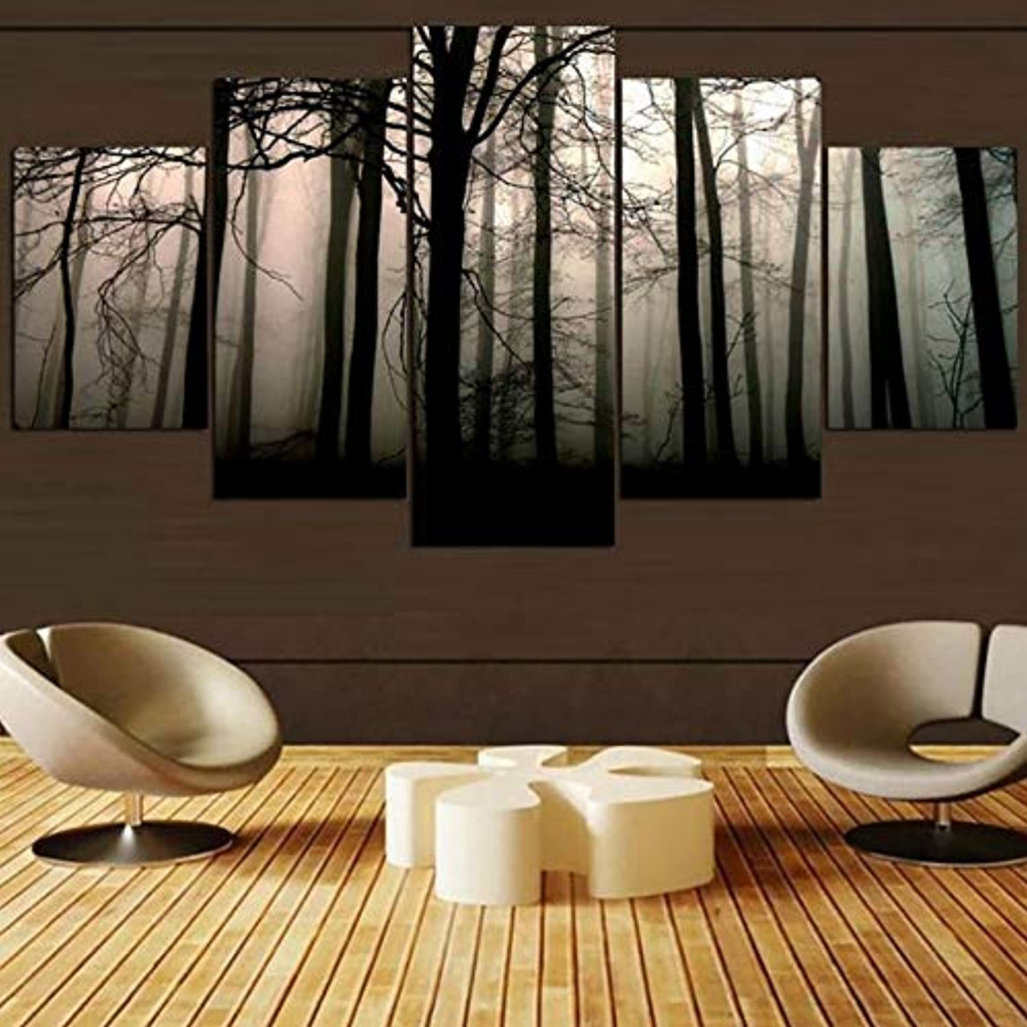 Artwork Poster Modern Home Decor Living Room Canvas 5 Panel Forest Landscape Framework Wall HD Print Painting Modular Pictures