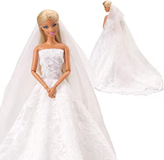 BARWA Wedding Dress with Veil White Princess Evening Party Clothes Wears Dress Outfit Set for 11.5 Inch Doll