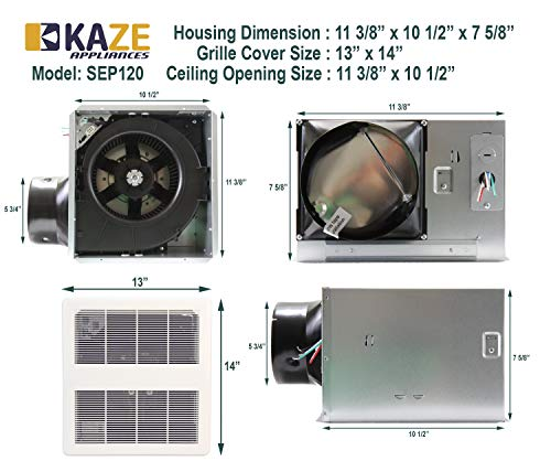 KAZE APPLIANCE Ultra Quiet Bathroom Exhaust Ventilation Fan - Best bathroom exhaust fans with light and heater