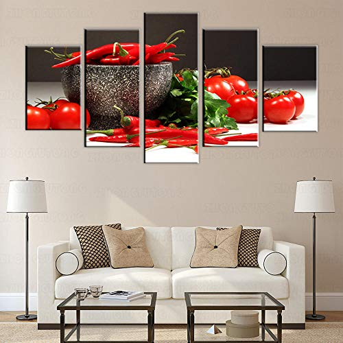 IGNIUBI Cocina Impresiones de Arte en Lienzo Decorativo Tomate y Chile Imágenes modulares realistas Sala de Estar Decoración de Pared Pintura en Lienzo 30x40x2 30x60x2 30x80cm Sin Marco