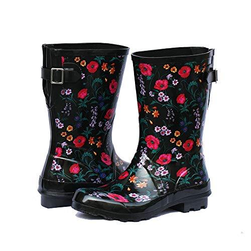 Z. Emma Women's Adjustable Buckle Outdoor Slip Resistant Waterproof Printed Mid Calf Rain Boots Black 8