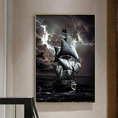 5D DIY Pintura de Diamante de Kits Navegando Mar Completo Crystal Rhinestone Adulto Sniño de Punto de Cruz Embroidery Art Decoración de la Pared del Hogar Diamond Painting Regalo Square Drill 30x40cm
