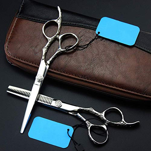 XBR Hairdressing Scissors Hair Thinning Scissors Set, Sharp Stainless Steel Hair Shears, Micro Serrated Hairdresser Scissors Barber/Salon/Home Shear Kit for Men Women Pet Scissors Pouch Styling Tools