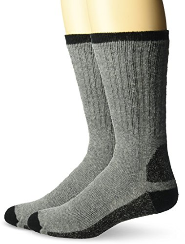 Wigwam Men's At Work Double Duty 2-Pack Crew Length Work Sock, Grey, Large
