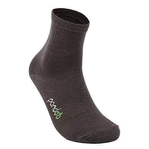 pandoo - Pack de 6 calcetines deportivos de bambú, unisex, perfectos para deporte y ocio, transpirables, sin goma, extra suaves y agradables para la piel, hipoalergénicos gris 35-38