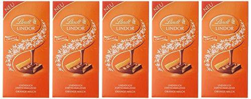 Lindt & Sprüngli Lindor Orange-Milch, 5er Pack (5 x 100 g)