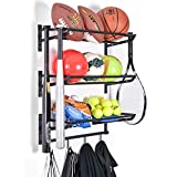 Sports Equipment Storage Rack for Baseball/Basketball/Football/Badminton/Golf/Yoga/Exercise Balls - Four...