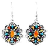 Turquoise Earrings 925 Sterling Silver & Genuine Gemstones (Multi-Gemstones)