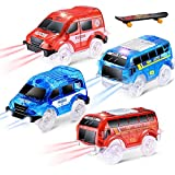 QUOXO 4 Pack Replacement Only Tracks Toy Car with LED Lights, Compatible with Tracks Playset(Free Fingerboard)