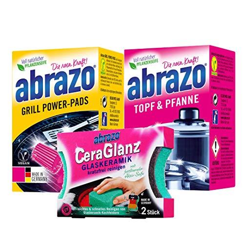 abrazo Topf & Pfanne Reinigungskissen + abrazo Grill Power-Pads Grillreinigungskissen + abrazo CeraGlanz Glaskeramik antibakteriell