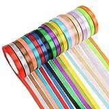 WOWOSS 20 Colores Cinta de Raso Doble Cara de 10 mm x 22 m, Rollo de Cinta tejida de Color para Decoración de Regalo Cajas Flores Boda Navidad