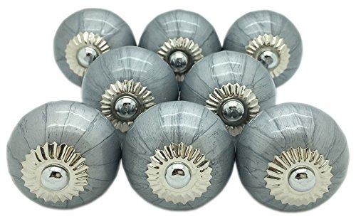 G Decor 8x Keramik-Türknauf grau-metallic, Vintage/Shabby Chic, für Schrank, Schublade, Ziehgriffe