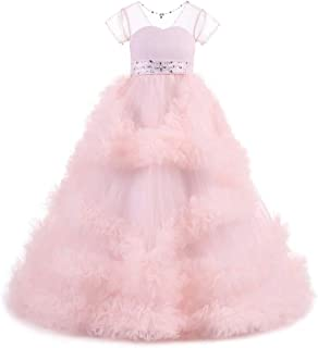 YLQ 女の子の子供はクリスマスプレゼントの王女の服のための結婚披露宴の服を刺繍しました (色 : ピンク, サイズ : 140)