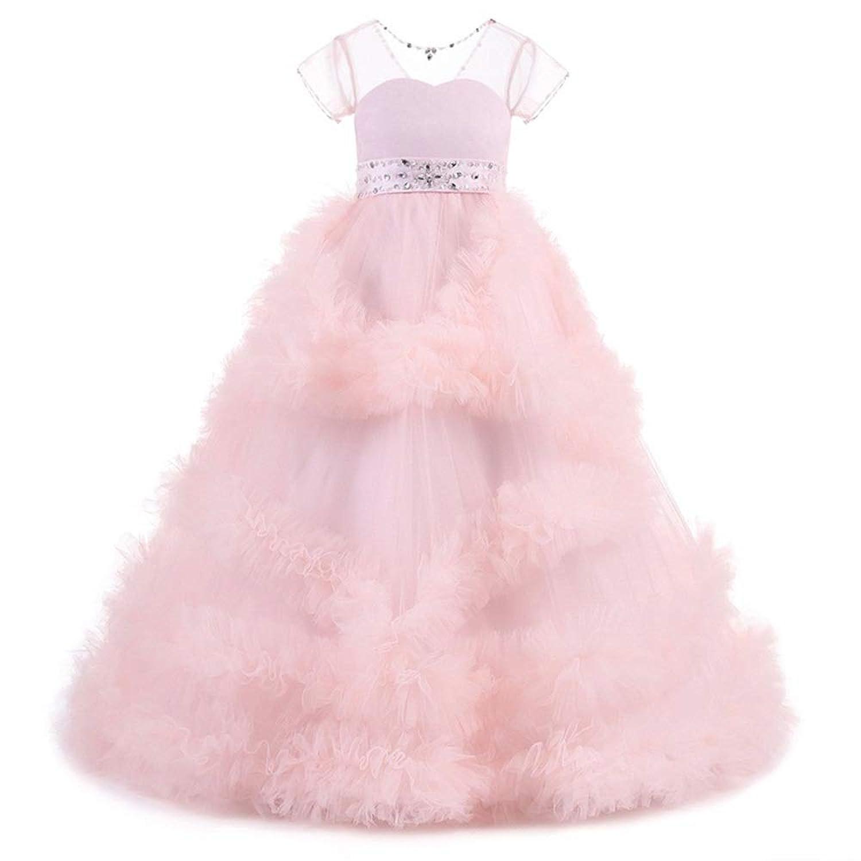 LYQ 女の子の子供はクリスマスプレゼントの王女の服のための結婚披露宴の服を刺繍しました (色 : ピンク, サイズ : 140)