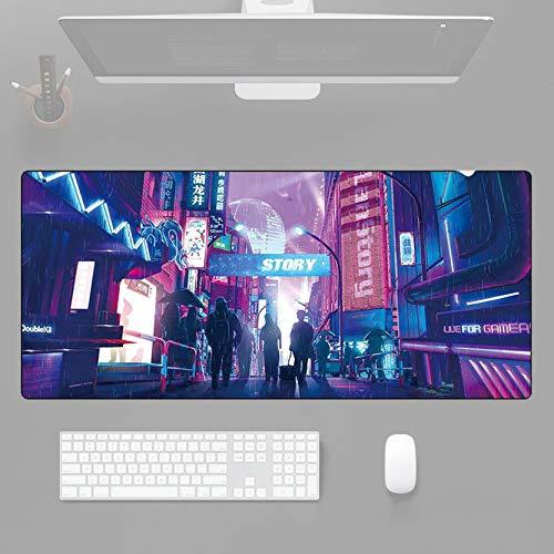 Alfombrilla de ratón extendida Punk, Chinatown para fans de Cuberpunk, alfombrilla de escritorio, alfombrilla de teclado perfecta impermeable, antideslizante, bordes cosidos, 30 x 78 cm