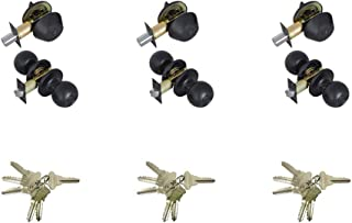 Grip Tight Tools ED07C-3 Black Combo Entry Lock Set Door Knob and Single Cylinder Deadbolt Keyed Alike: SC1 Keyway with 18 Keys Included Set of 3