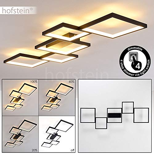 LED Deckenleuchte Bacolod, dimmbare Deckenlampe aus Metall in Schwarz, 34 Watt, 3400 Lumen, Lichtfarbe 3000 Kelvin (warmweiß), dimmbar über Lichtschalter, mit tollem Lichteffekt