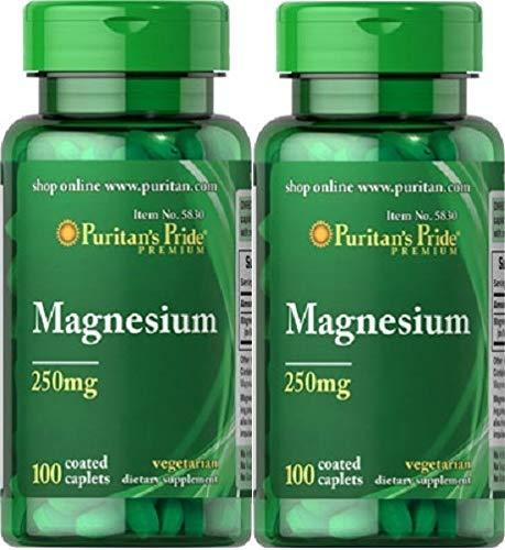 2 MAGNESIO 250 mgr. 100 TABLETAS (HIPERTENSION, ACNE) PURITAN'S PRIDE