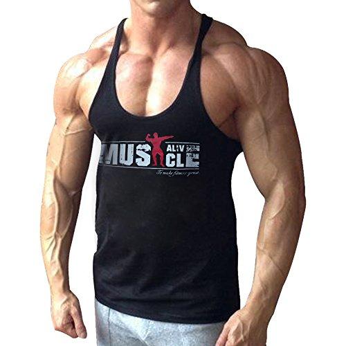 Alivebody Palestra Canotta Uomo Bodybuilding Senza Maniche Stringer Veste Cotone Nero M