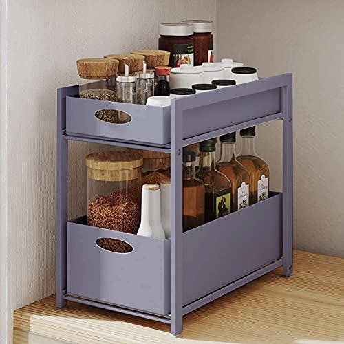 GOLDFAN Estante de almacenamiento rectangular de metal extraíble de 2 niveles con organizador de cajones para cocina, baño, oficina, gris
