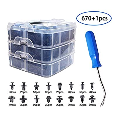 671 Pcs Car Push Retainer Kit and Free Fastener Remover,Assortment Universal Bumper Retainer Clips Push Type Retainers Set in Case Fits For GM Ford Toyota Honda Chrysler (671 Pcs Kit)