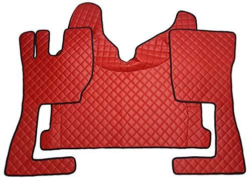 Alfombrillas para piso y cubierta del motor a la izquierda camión FH4 2014+ accesorios caja de cambios automática de cuero ecológico rojo