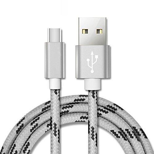Auntwhale 2M USB tipo C Cargador Cable Nylon trenzado USB C Carga rápida y cable de sincronización de datos para Samsung Note8 S8 S8 + (2M plata)