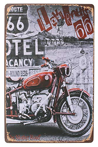 SUMIK Retro Rustic Style Motorcycle Love Route 66 Metal Tin Sign, Vintage Art Poster Plaque Garage Home Wall Decor