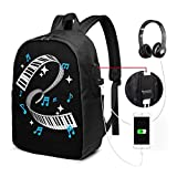 MHHYY USB Backpack 17-Inch Piano Player Product Piano Teacher Keyboard Notes Adjustable Shoulder Bag Carry On Bags Laptop Backpack for Travel School Business